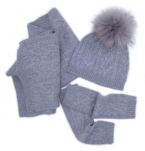 100% Cashmere Scarf, Pom-pom Hat and Mittens Set Grey