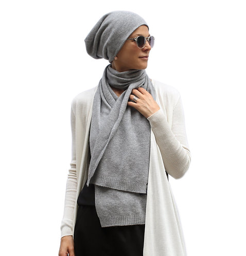 100% Cashmere Loose Beanie Hat Light Grey