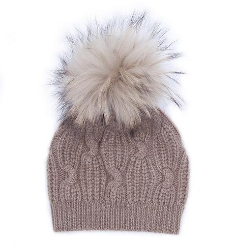 Extra Warm Cashmere Pom-pom Hat Brown