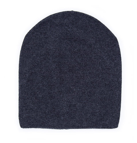 100% Cashmere Tight Beanie Hat Dark Grey