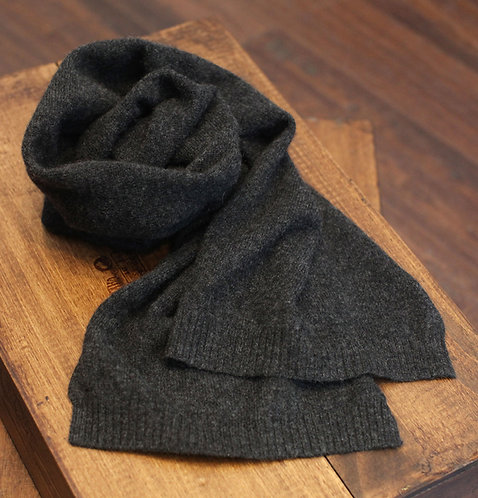 Thin 100% Cashmere Scarf Dark Grey