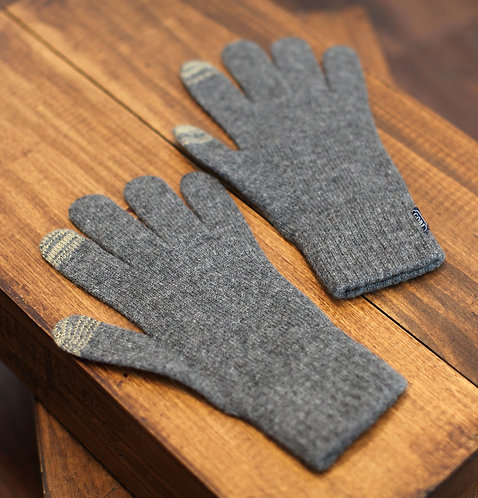 Touchscreen 100% Cashmere Gloves Grey