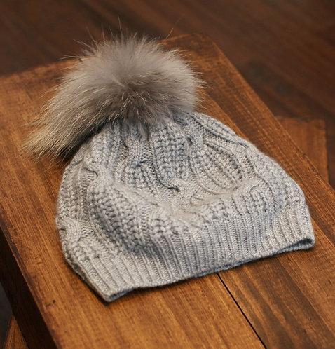 Extra Warm Cashmere Pom-pom Hat Light Grey