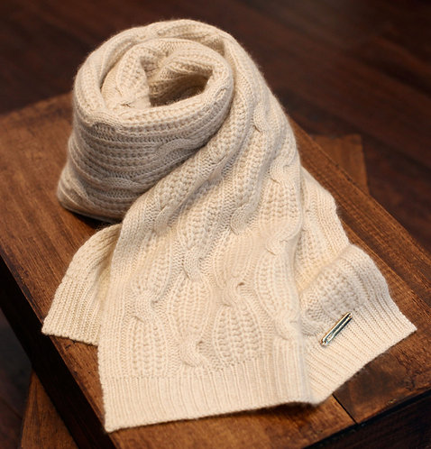Large Braided Cashmere Cold Weather Scarf Ivory