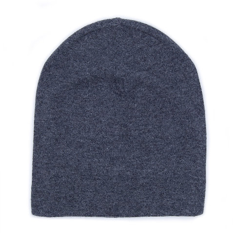 100% Cashmere Tight Beanie Hat Grey