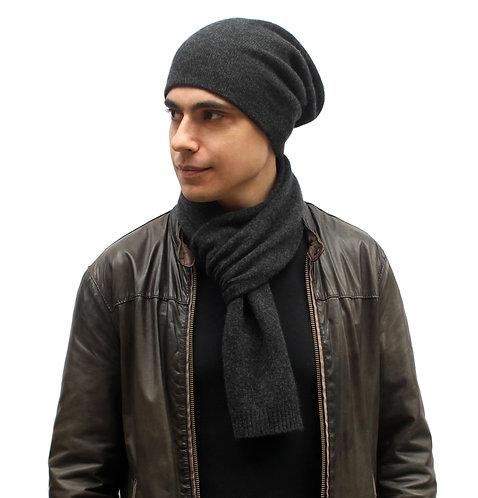 100% Cashmere Tight Beanie Hat Dark Grey