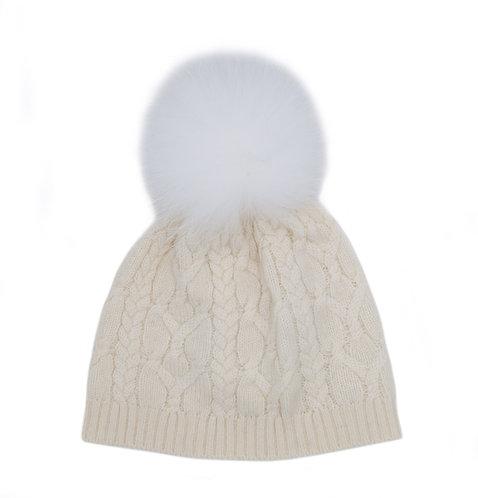 Cashmere Pom-pom Hat White