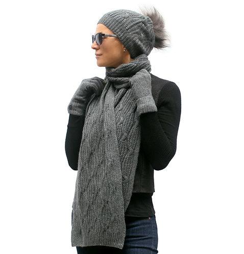Extra Warm Cashmere Pom-pom Hat Dark Grey