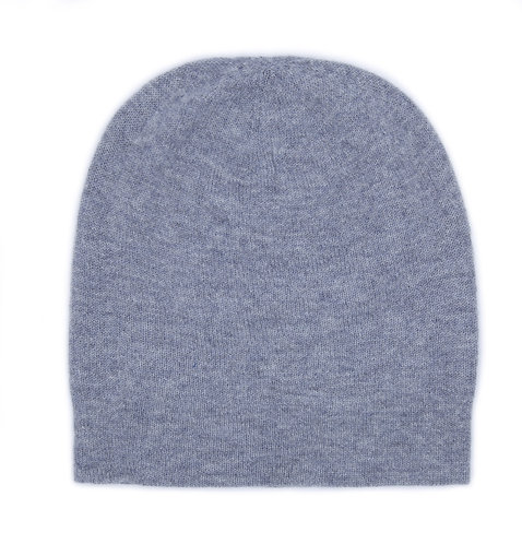 100% Cashmere Loose Beanie Hat Light Grey