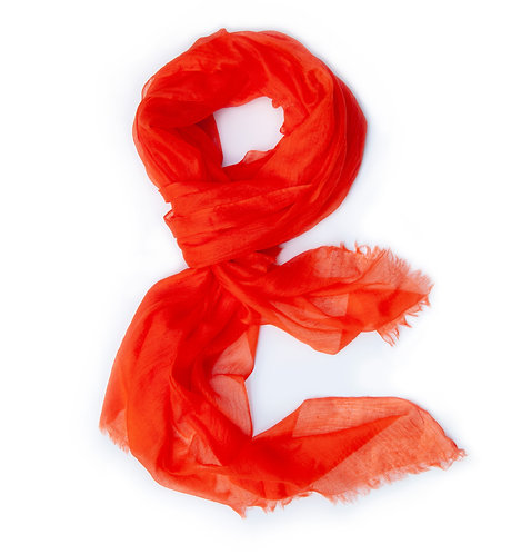 100% Cashmere Feather Light Scarf/Shawl Flame