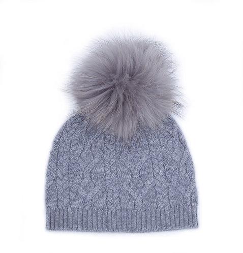 Cashmere Pom-pom Hat Light Grey