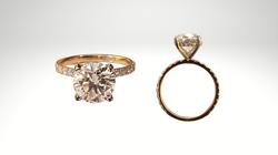 Custom Designed 14k yellow and white gold diamond hidden halo engagement ring