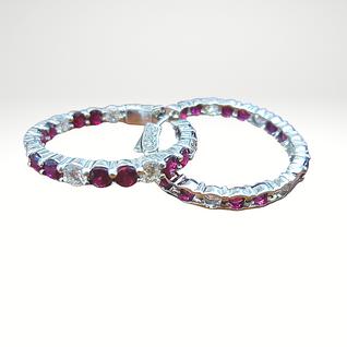 Custom Designed Ruby & Diamond Inside/Outside Hoops