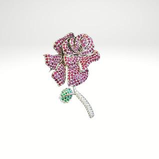 Custom designed ruby diamond and emerald rose brooch pendant