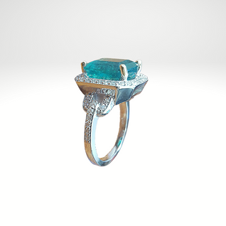 Custom Designed Emerald & Diamond Ring