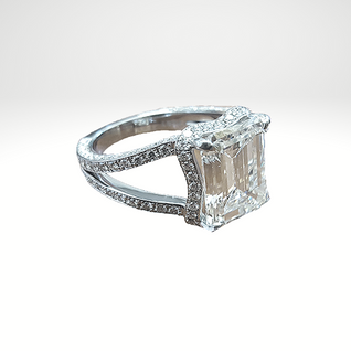 Custom Designed Halo engagement ring for emerald cut