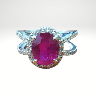 14k white gold ruby and diamond halo rin