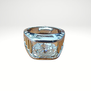 Mens 14k white and tellow gold diamond ring