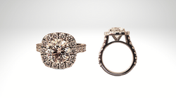 custom designed 14k white gold diamond halo engagement ring