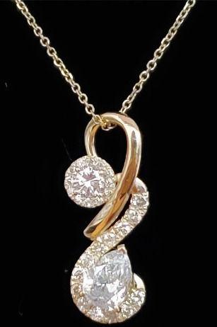 Custom Designed Diamondswirl pendant necklace