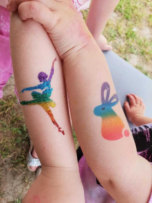 rainbow glitter & airbrush tatt by kando