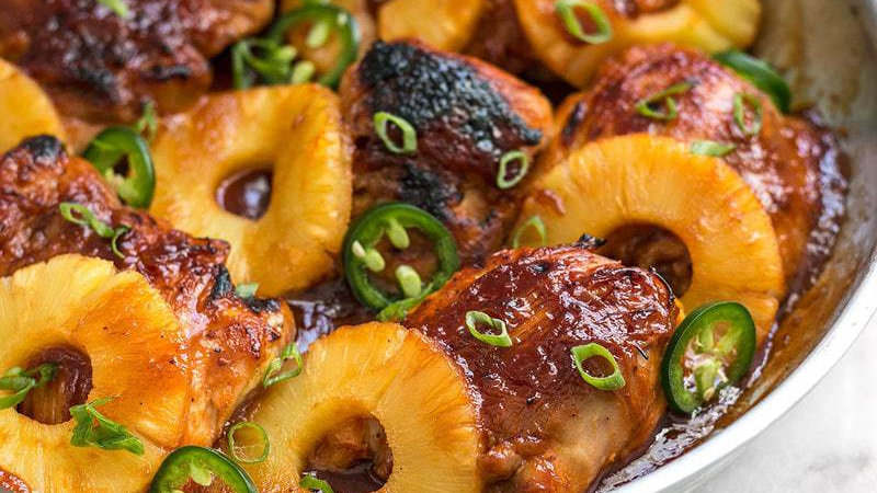 Pineapple Barbecue Chicken with rice