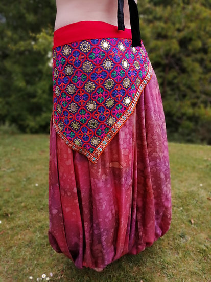 MIRRORED HIP SCARF: Red multi with embroidered braid