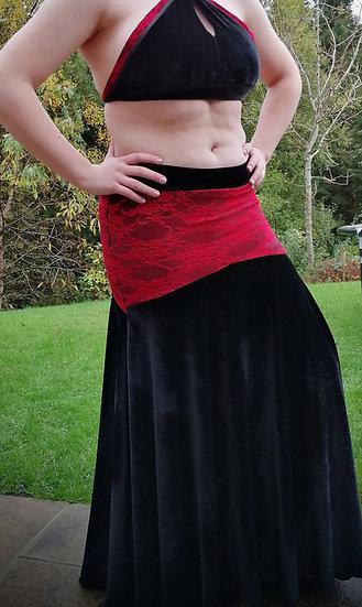DIVA! Venus skirt: Black velour with crimson lace overlay