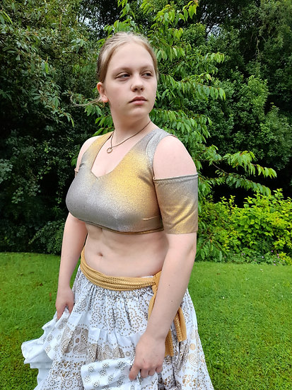 CHOLI, open shoulder: Gold and silver fade jersey