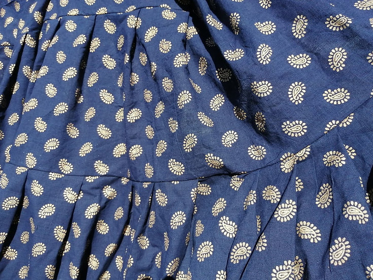 18 YARD NAVY AND GOLD PRINT COTTON GYPSY SKIRT