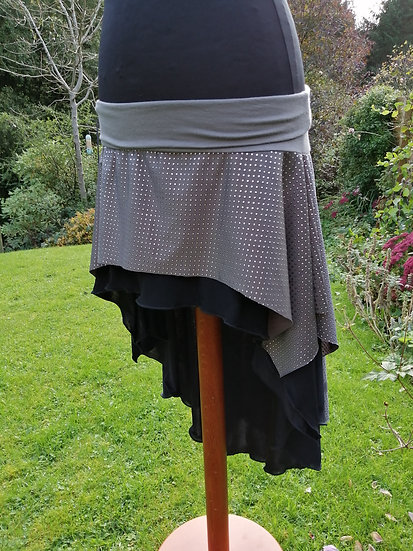 Circle hipskirt, double layer, grey/ black