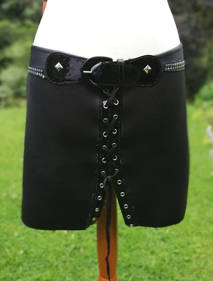 Rock Chick mini skirt, lace up front, shiny pvc buckle