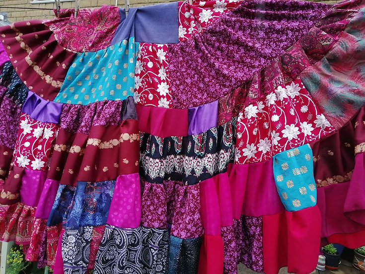 30 YARD GYPSY SKIRT: Patchwork pink, burgundy and blue