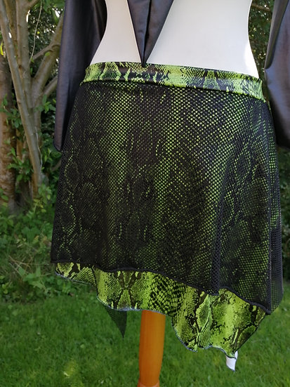 LAYERED PULL ON OVERSKIRT, lime snakeskin/ black mesh