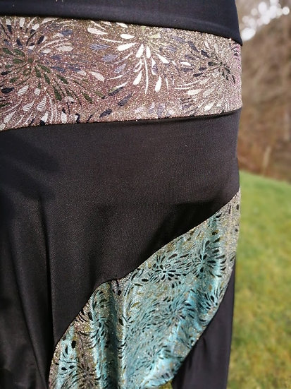 BIAS CUT HIP SKIRT: Black and two tone glitter jersey