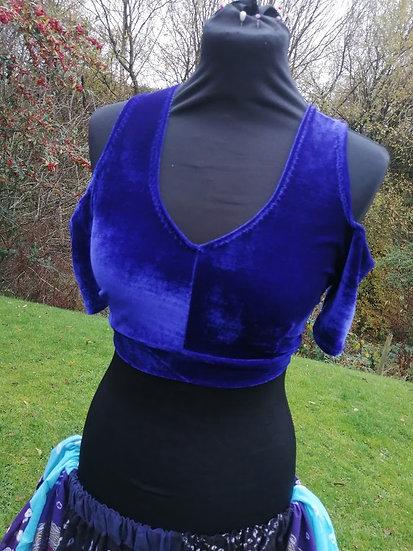 CHOLI, open shoulder, royal blue velour