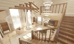 Огромный деревянный дом-галерея
