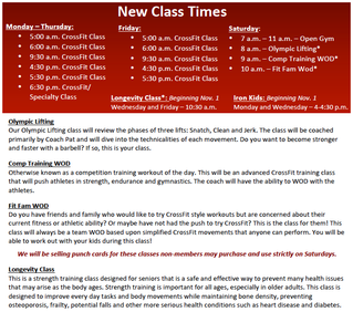 New Class Times!