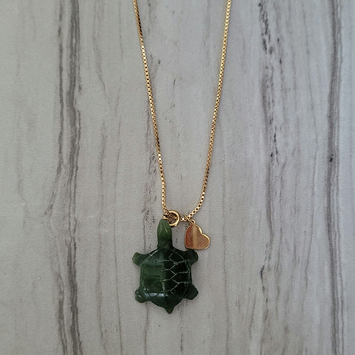 Jade carved turtle Necklace