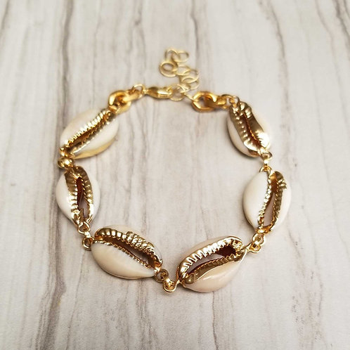 Cowrie gold dipped Shell bracelet