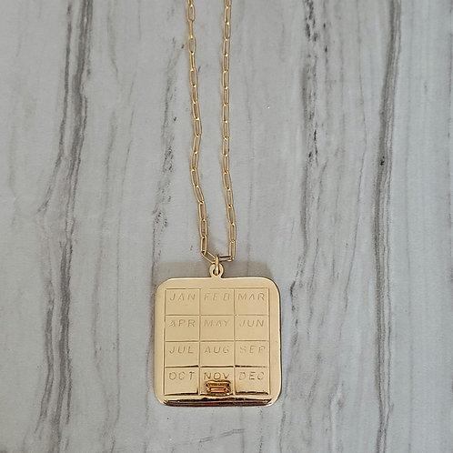 November Calendar Vintage charm necklace