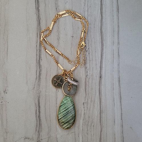 Labradorite drop charm necklace