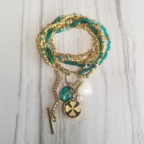 Turquoise/Gold Mix Clover and Mother Mary
