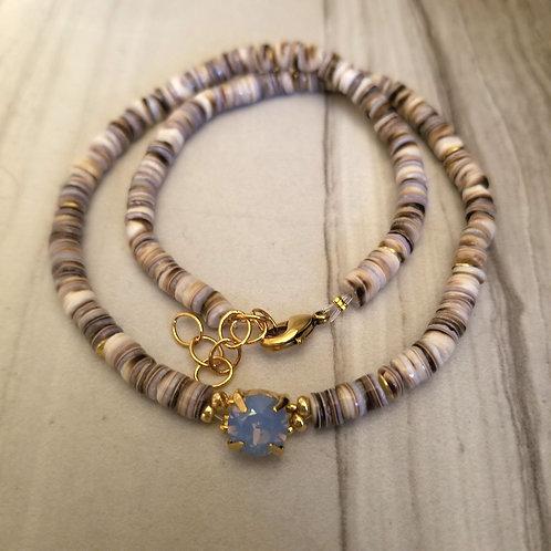 Heishi Shell Blue Opal Choker