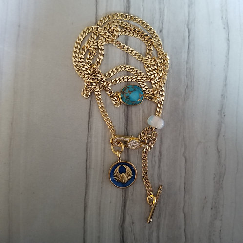Blue enamel Scarab wrap chain