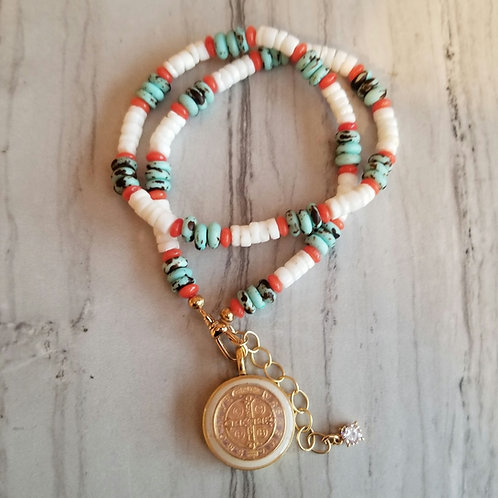 Saint Benedict Pooka and Turquoise beads.