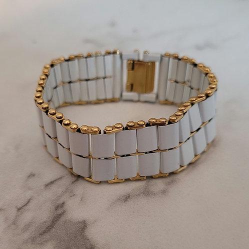White Enamel Vintage Band bracelet