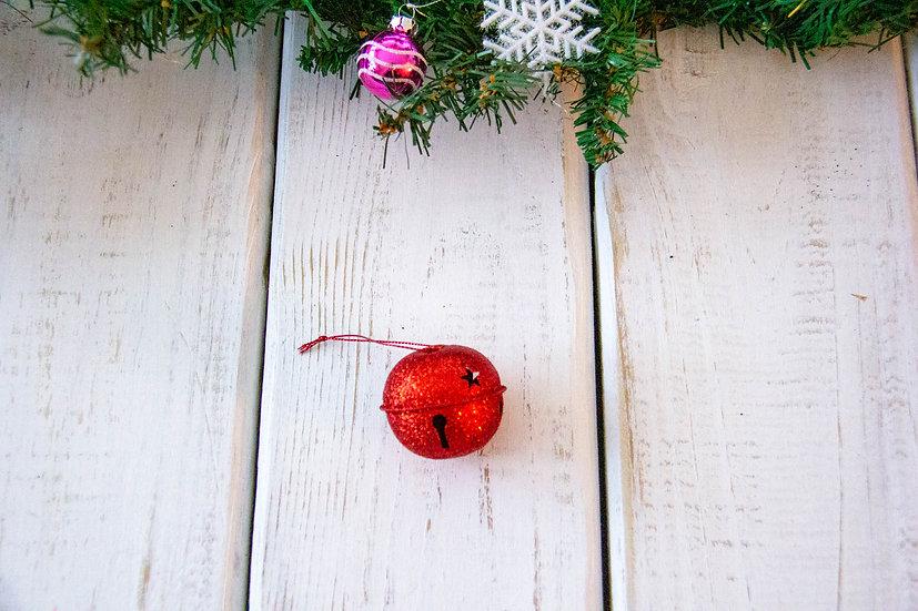 Large Red Glitter Jingle Bell - Gift Embellishment