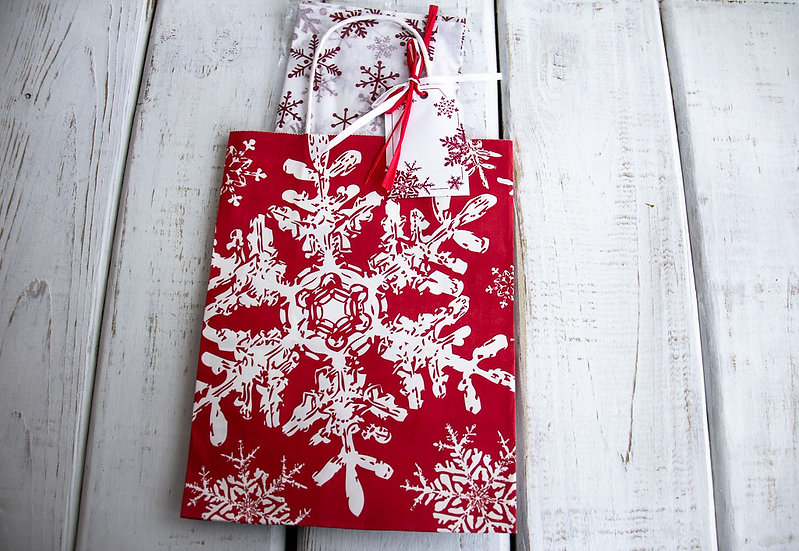 Medium Gift Bag with Tissue - Red and White Snowflake