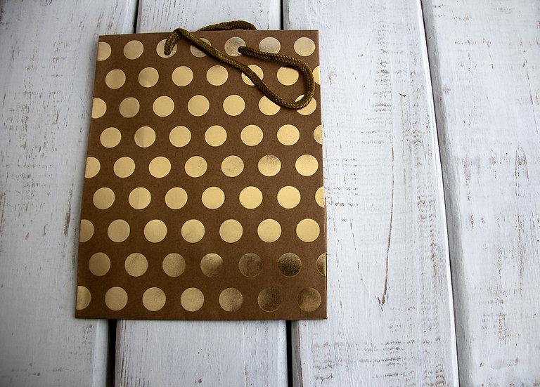 Medium Gift Bag - Kraft and Gold Dots
